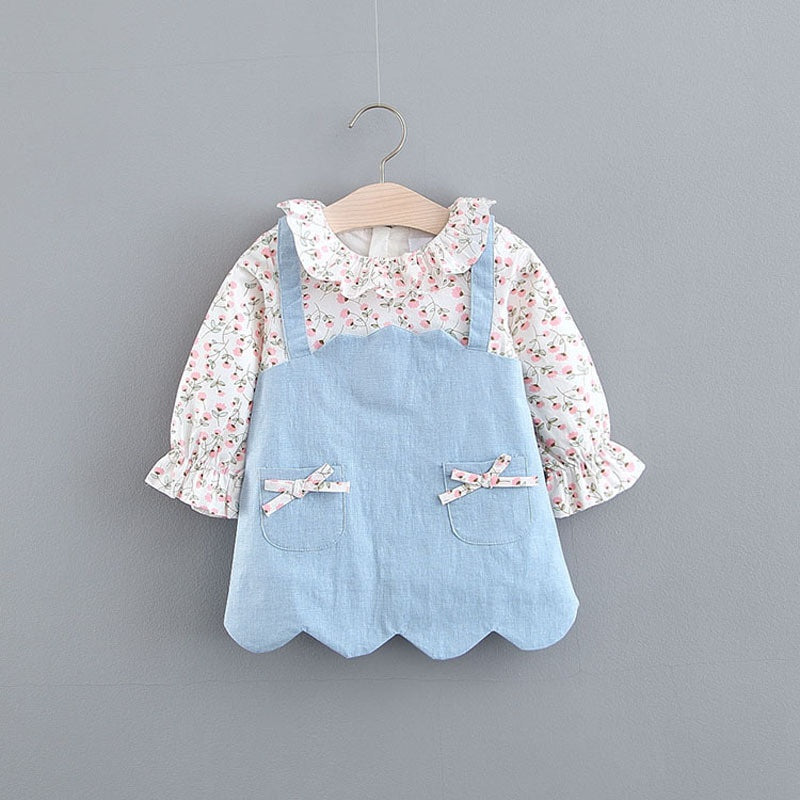 Baby / Toddler Sweet Faux-two Floral Allover Denim Long-sleeve Suspender Dress