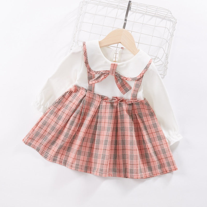 Baby / Toddler Preppy Style Faux-two Plaid Doll Collar Suspender Long-sleeve Dress