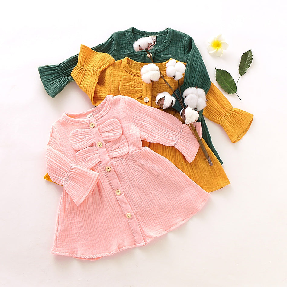 Baby / Toddler Casual Solid Bowknot Long-sleeve Dress
