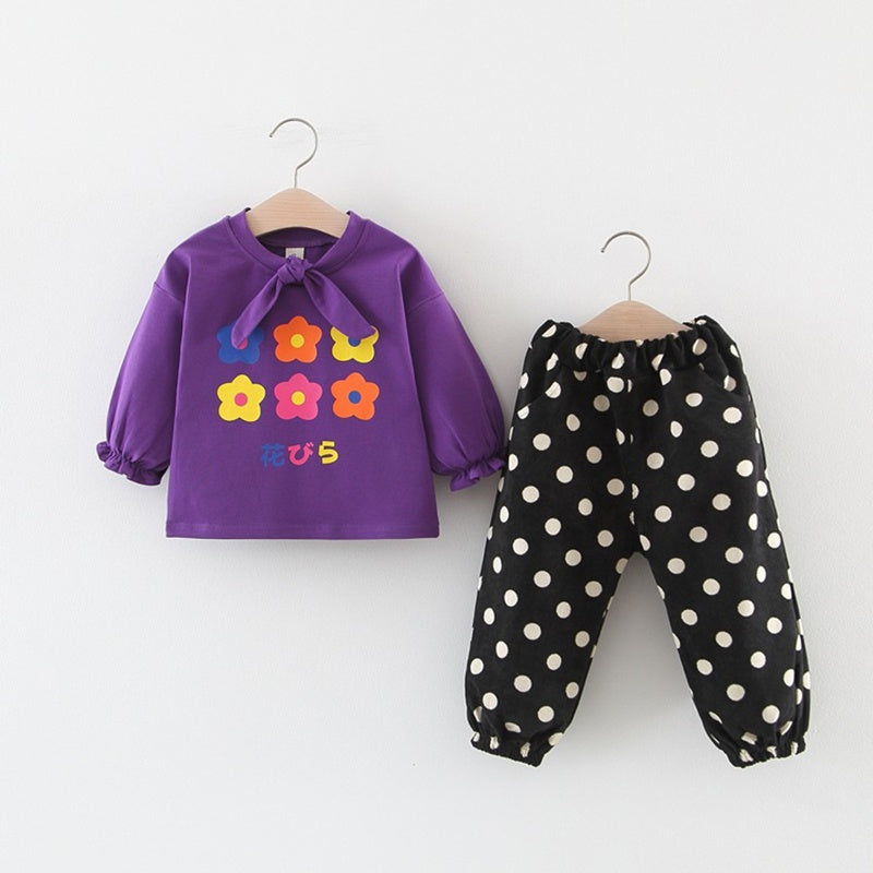 Baby Flower Print Knot Top and Polka Dots Pants Set