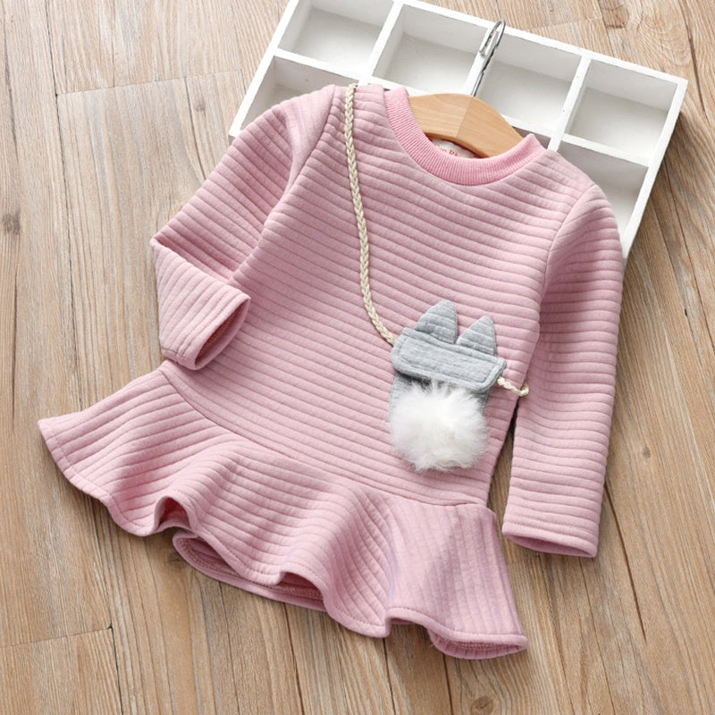 Baby / Toddler Girl Sweet Solid Thick Bunny Pompon Long-sleeve Dress