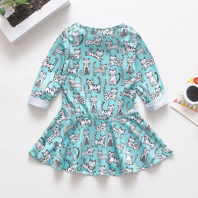Baby / Toddler Girl Cat Allover Long-sleeve Dress