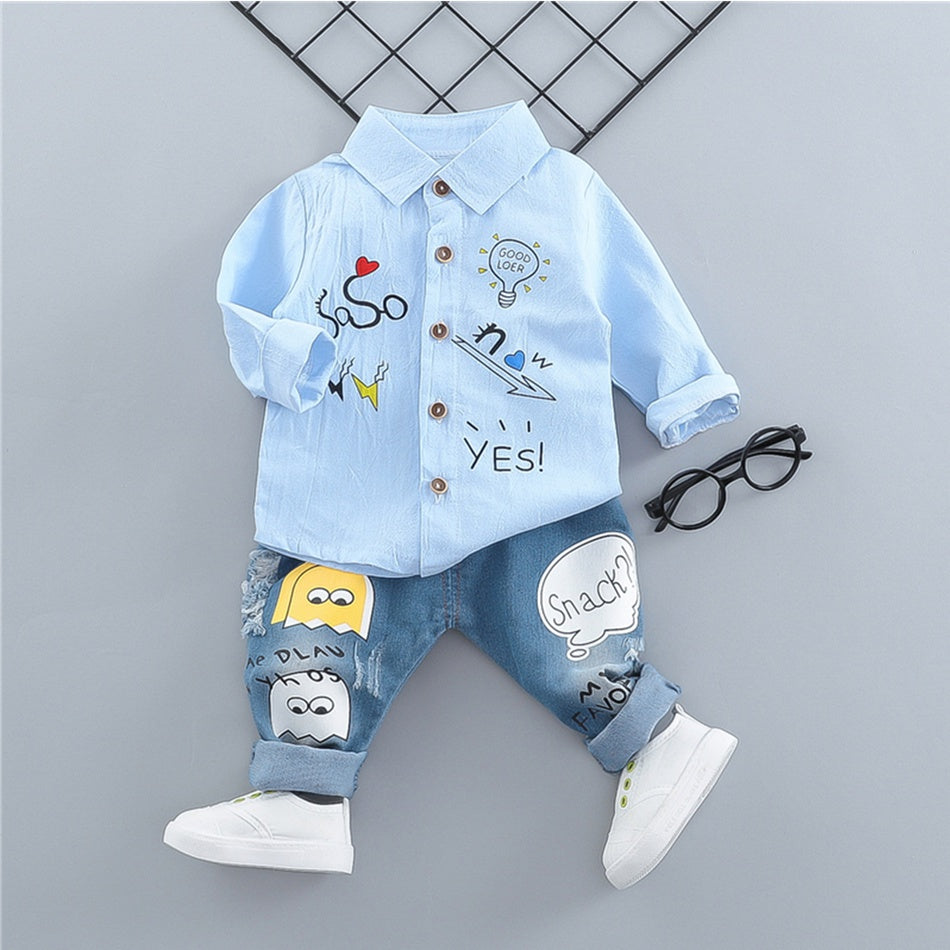 2-piece Fashionable Cartoon Pattern Lapel Collar Shirt and Jeans Set        3/13/19/7