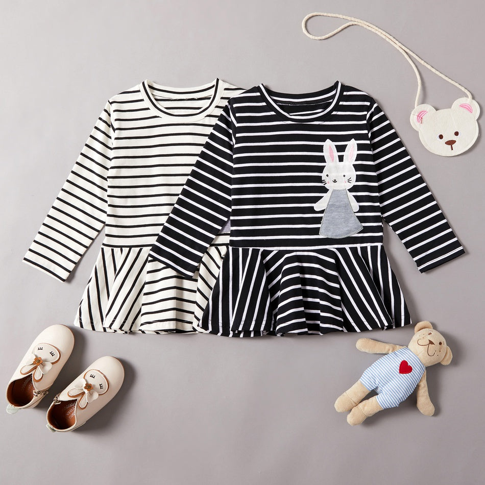 Baby / Toddler Stripe Style Rabbit Applique Long-sleeve Dress