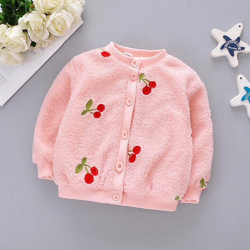 Baby / Toddler Girl Pretty Cherry Embroidery Furry Jacket