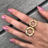 large-and-small-14kgold-hexagon-rings-on-model