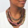 Nolita Necklace: Jewel-Tone Gemstone Beads with Gold and Sapphire Accent Bead