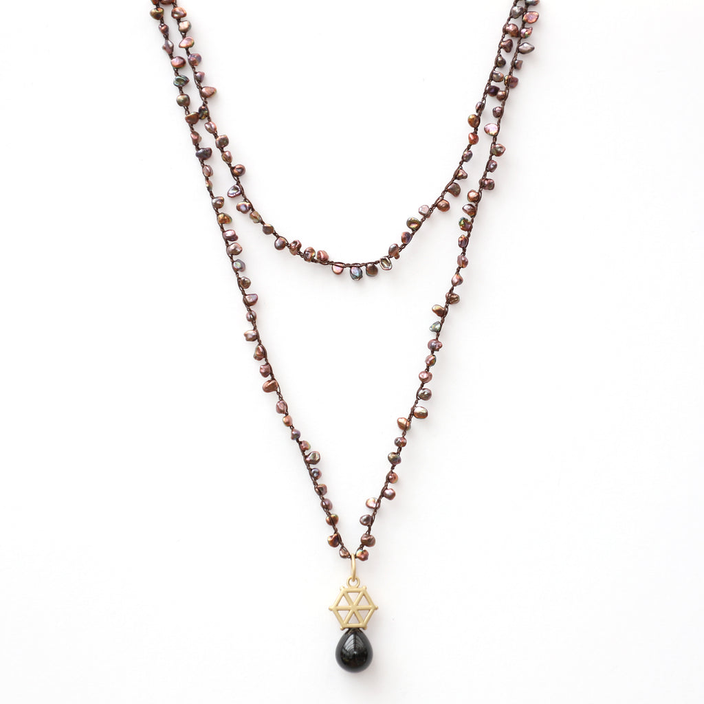Brown Pearl Necklace with Gold Large Spoked Hexagon and Black Tourmaline Charm