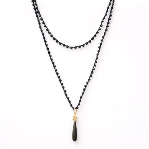 Black Onyx Necklace with Gold Small Spoked Hexagon and Gold Obsidian Charm