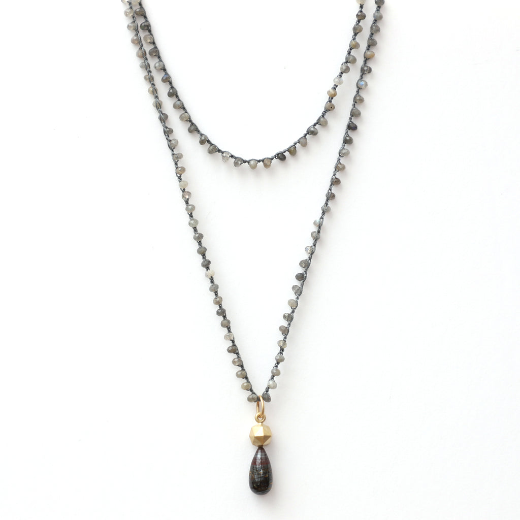 Labradorite Necklace with Gold Faceted Sphere and Tiger Iron Charm