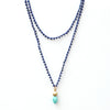 Lapis Necklace with Gold Faceted Sphere and Amazonite Charm