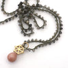 Labradorite Necklace with Gold Large Spoked Hexagon and Pink Moonstone Charm