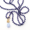 Sapphire Jade Necklace with Gold Small Spoked Hexagon and Blue Lace Agate Charm