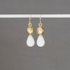 Gold Faceted Sphere Earrings with White Quartzite