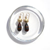Gold Faceted Sphere Earrings with Tiger Iron
