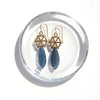 Gold Large Spoked Hexagon Earrings with Kyanite