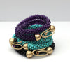 Turquoise Double-Wrap Beaded Bracelet with Gold and Pink Sapphire Clasp