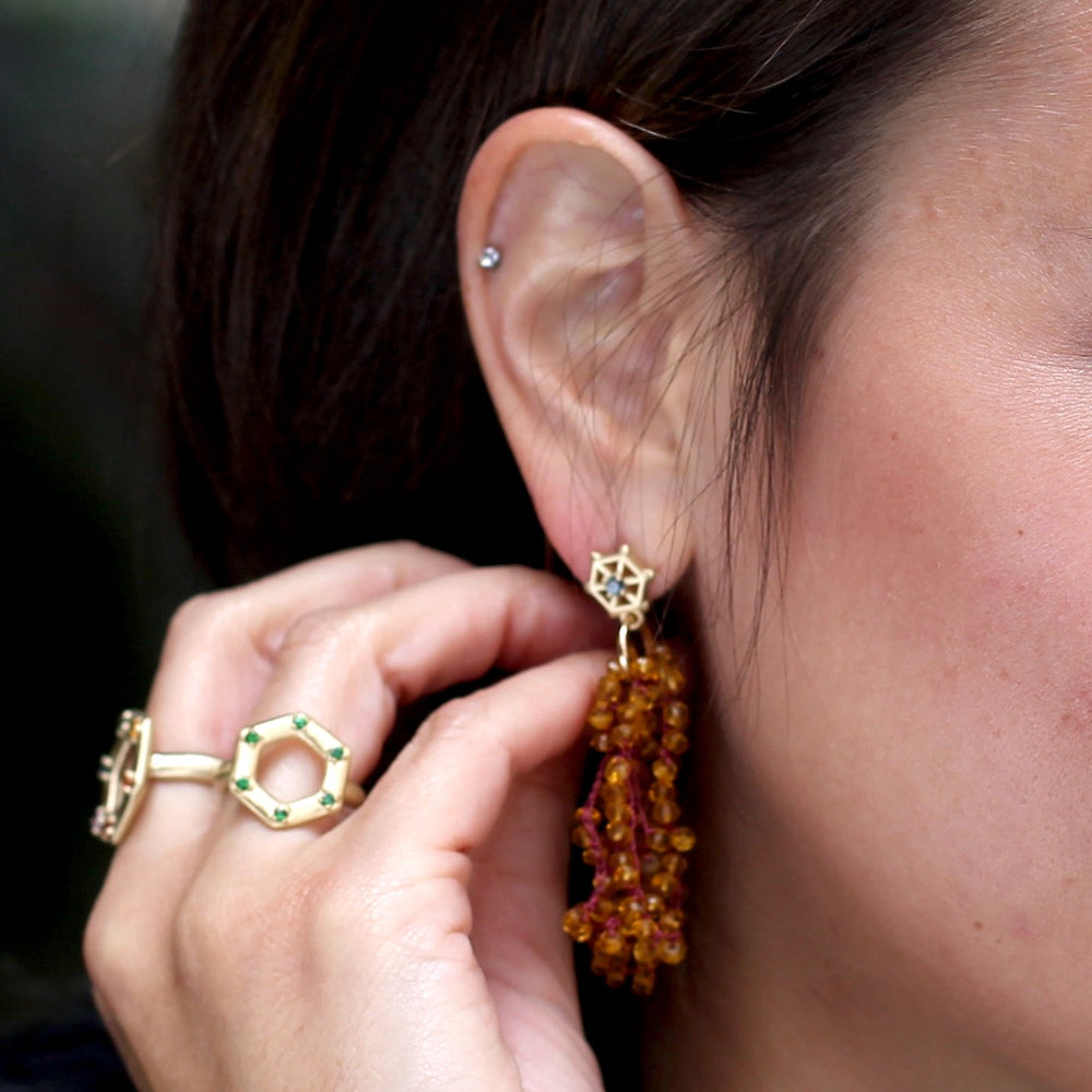 Small Gold and Beaded Gemstone Earrings: Citrine and Blue Grey Sapphire
