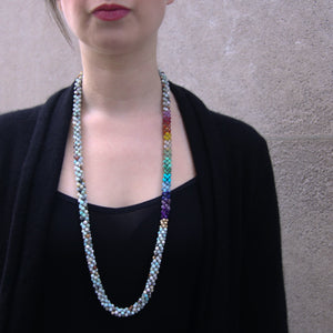 Load image into Gallery viewer, rainbow-beaded-gemstone-necklace-long