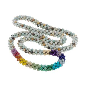 Load image into Gallery viewer, amazonite-rainbow-beaded-gemstone-necklace
