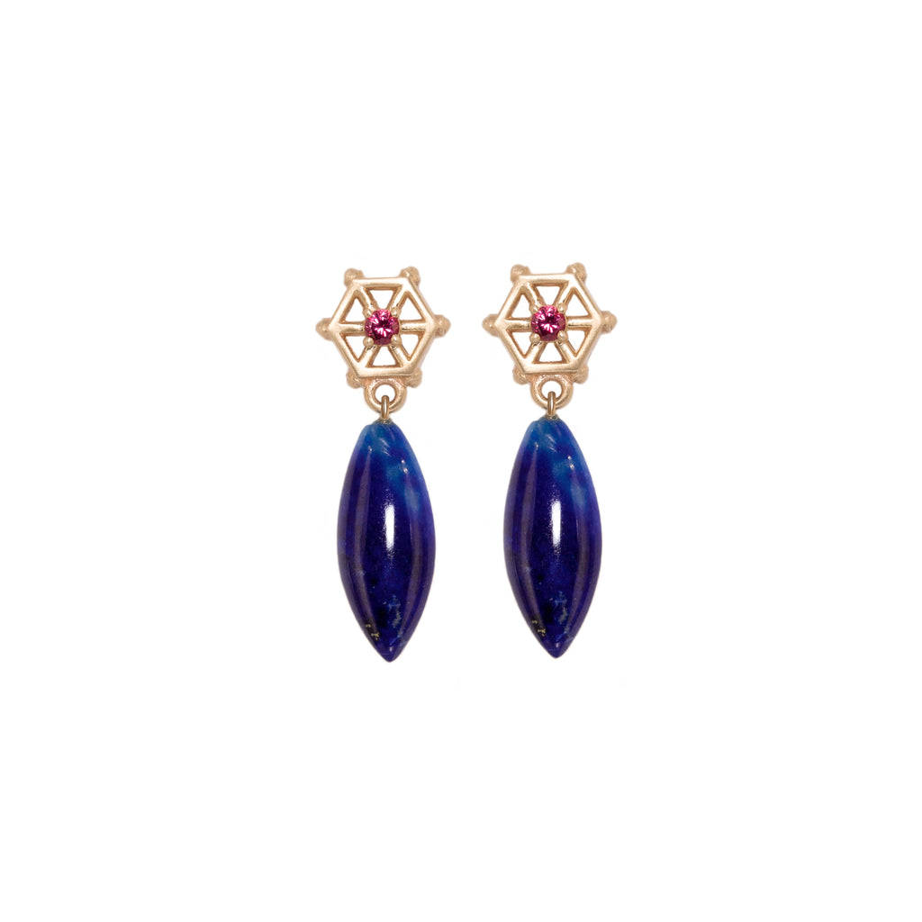lapis-drop-earrings-with-small-14kgold-and-pink-spinel-post