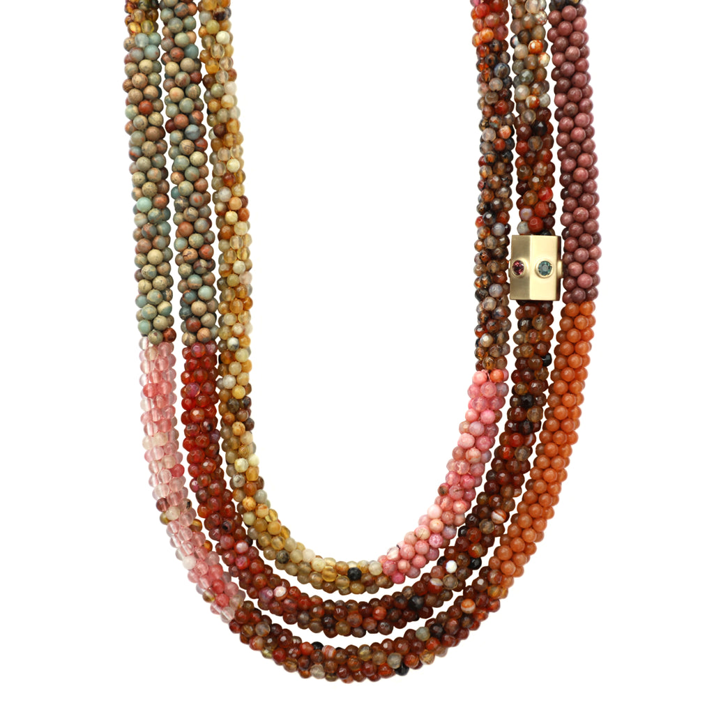 tan-pink-orange-gemstone-beaded-necklace-with-14kgold-sapphire-accent-bead