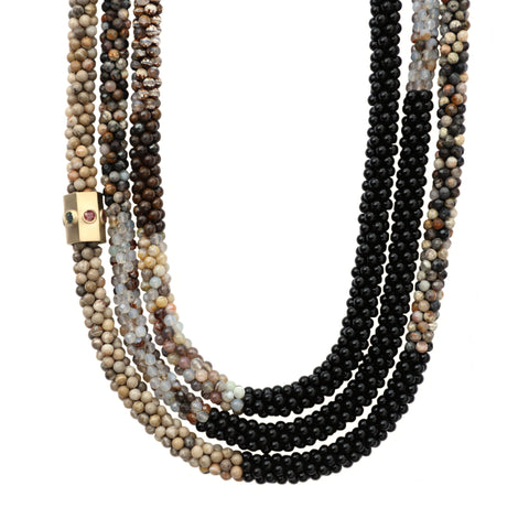 black-brown-grey-gemstone-beaded-necklace-with-14kgold-sapphire-accent-bead