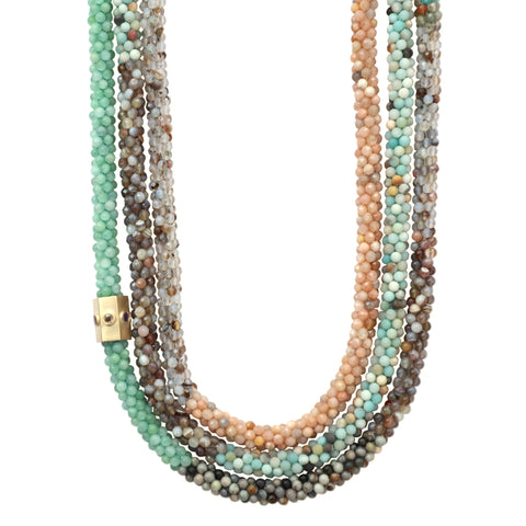 tan-aqua-peach-gemstone-beaded-necklace-with-14kgold-sapphire-accent-bead