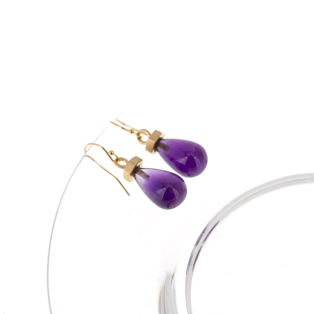Load image into Gallery viewer, gold-flat-hexagon-earrings-amethyst