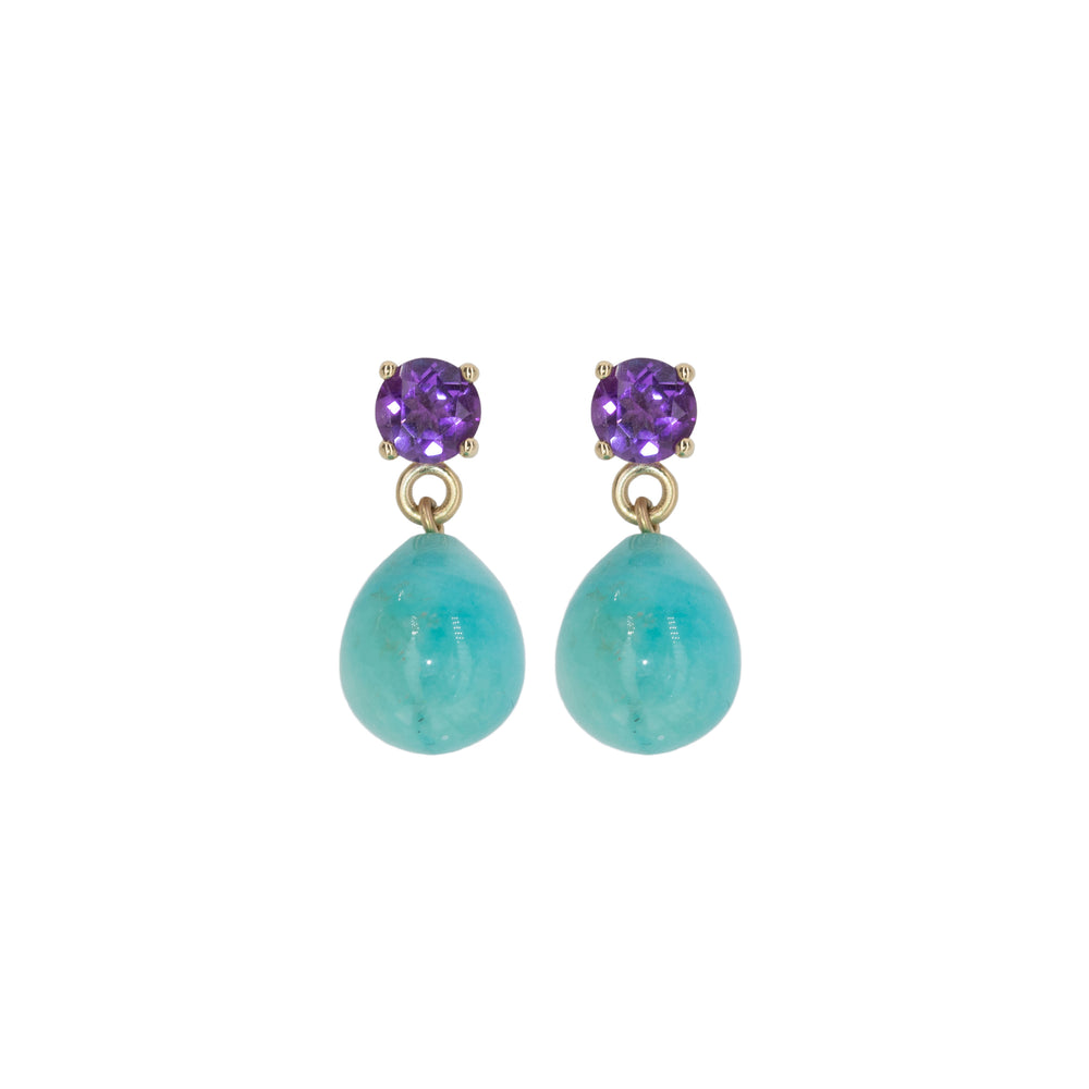 Gold Gemstone Drop Earrings: Amazonite and Amethyst