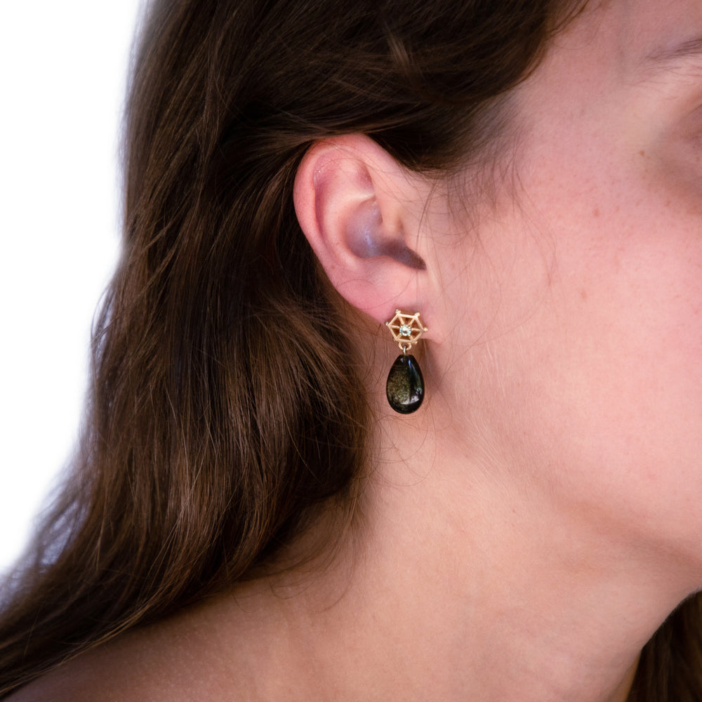 Load image into Gallery viewer, gold-gemstone-spoked-hexagon-earrings-obsidian-model