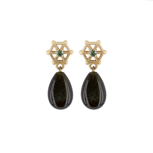 Load image into Gallery viewer, gold-gemstone-spoked-hexagon-earrings-obsidian