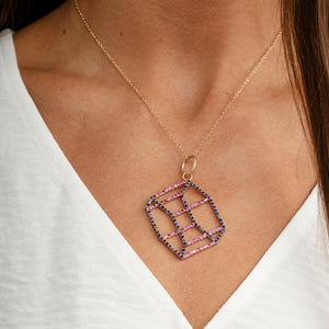 Load image into Gallery viewer, gold-hexagonal-prism-necklace-model