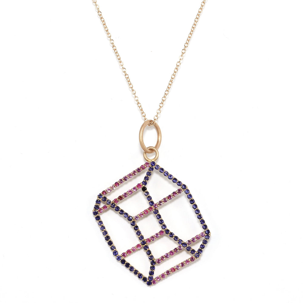 Load image into Gallery viewer, gold-hexagonal-prism-necklace