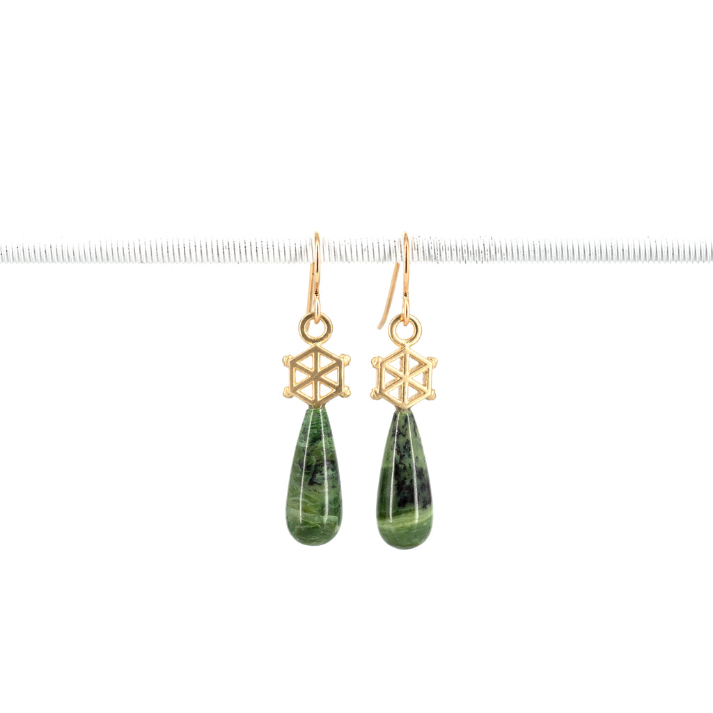 14kgold-small-spoked-hexagon-green-opal-earrings