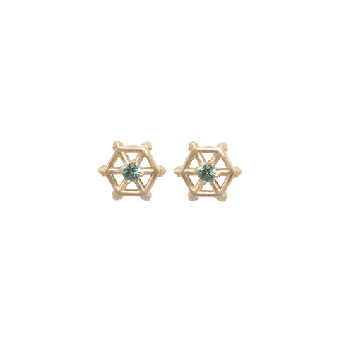 14kgold-small-spoked-hexagon-green-and-sapphire-stud-earrings