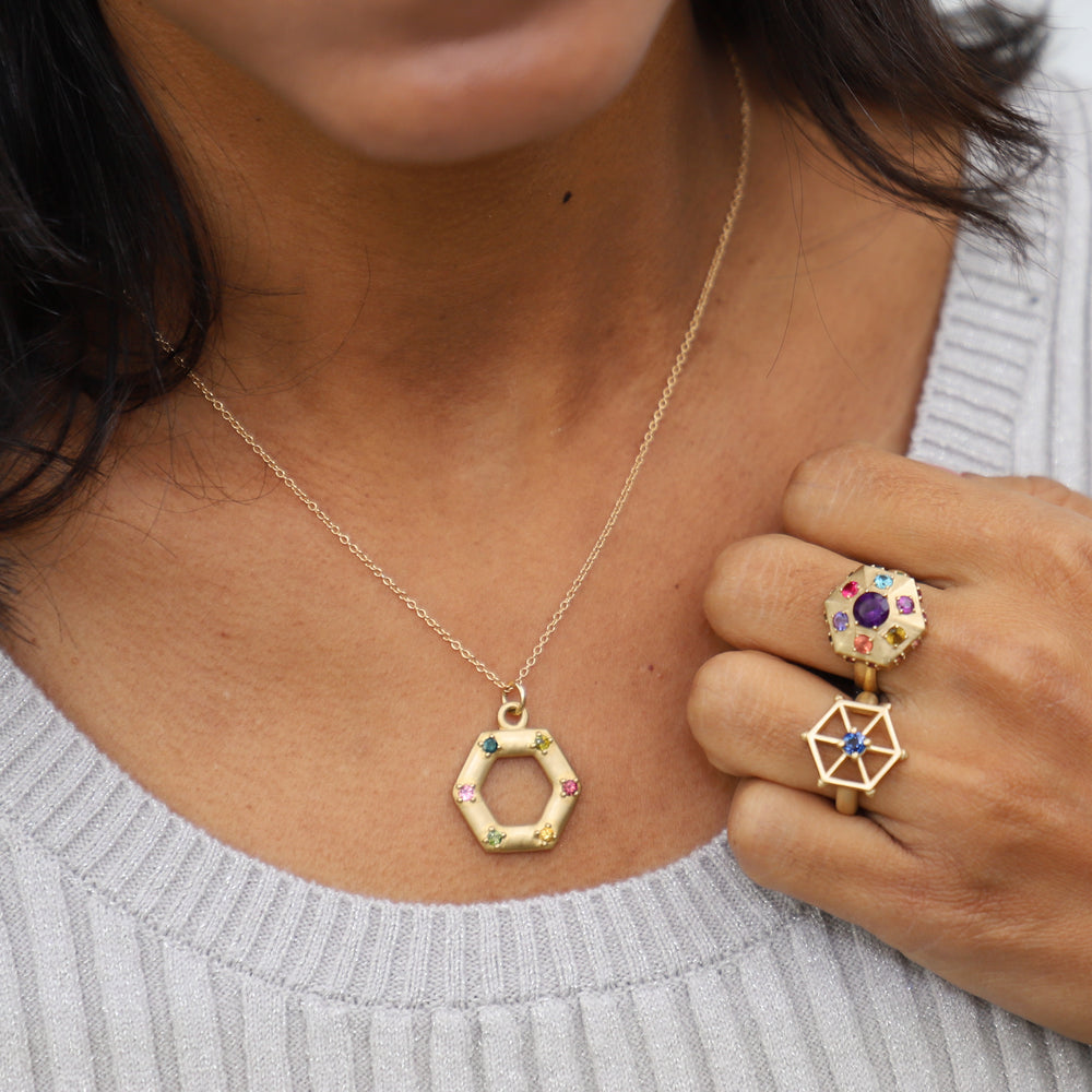 Load image into Gallery viewer, gold-open-hexagon-necklace-model