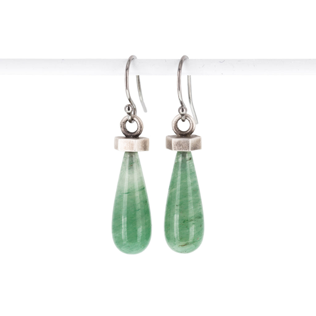green-aventurine-silver-flat-hexagon-earrings