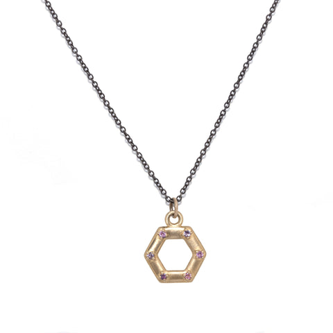 small-14kgold-hexagon-pink-sapphire-charm-with-oxidized-silver-chain