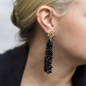 large-gold-beaded-gemstone-earrings-spinel-model