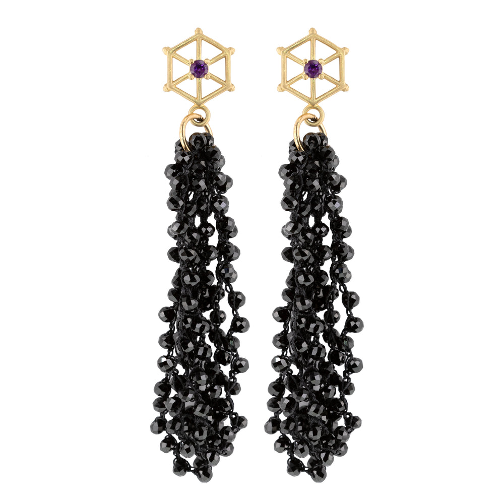 large-gold-beaded-gemstone-earrings-black-spinel