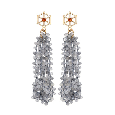 cloudy-quartz-beaded-earrings-with-large-14kgold-and-orange-sapphire-post