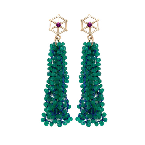 green-onyx-beaded-earrings-with-large-14kgold-and-rhodolite-garnet-post