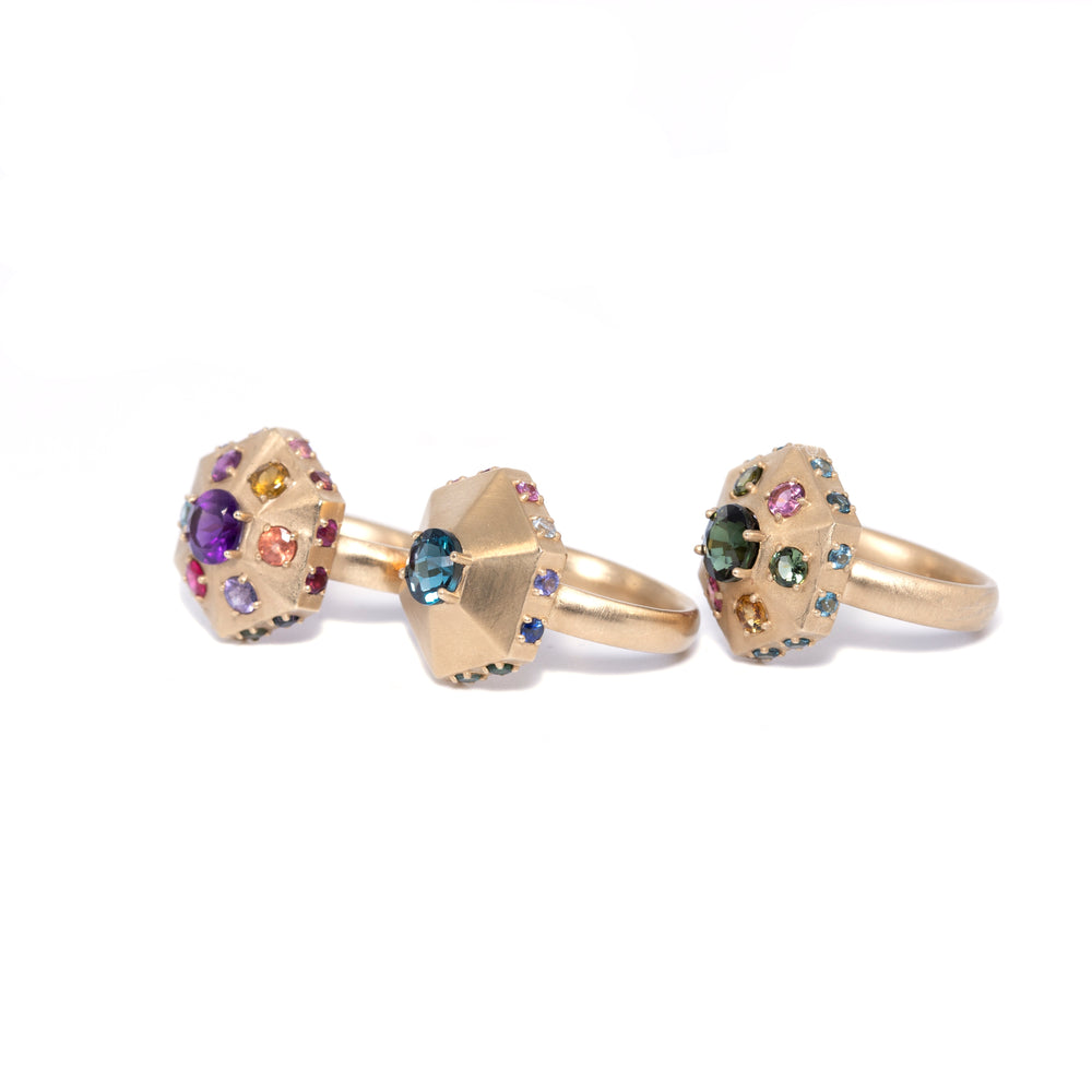 Gold Pointed Hexagon Ring: Amethyst and Assorted Gemstones