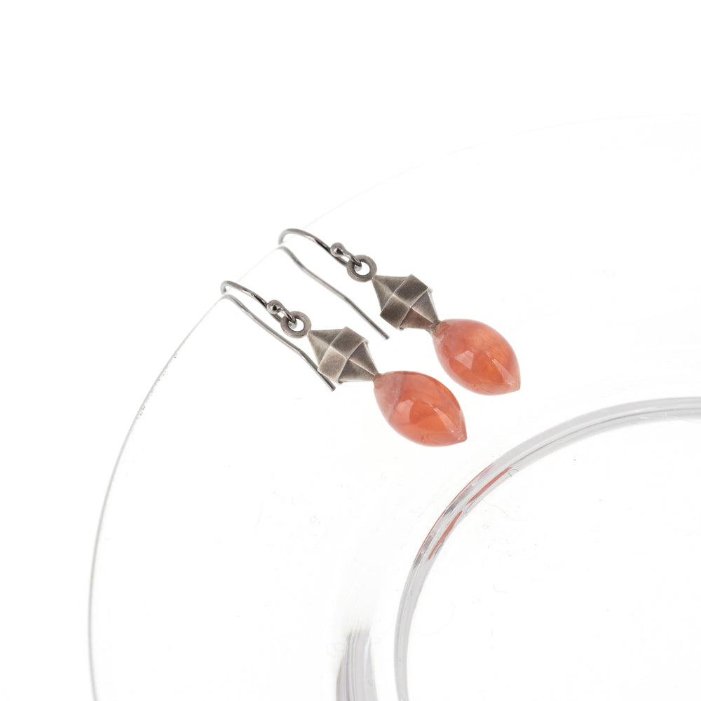 Load image into Gallery viewer, rhodocrosite-silver-double-pointed-hexagon-earrings