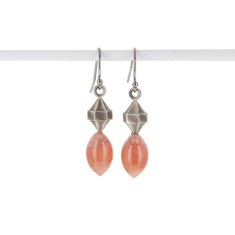 rhodocrosite-silver-double-pointed-hexagon-earrings
