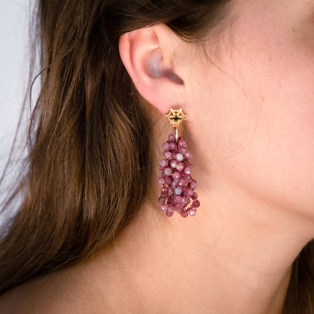 pink-tourmaline-beaded-earrings-with-small-14kgold-and-dark-green-tourmaline-post-model