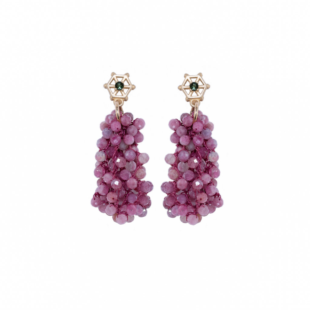 pink-tourmaline-beaded-earrings-with-small-14kgold-and-dark-green-tourmaline-post