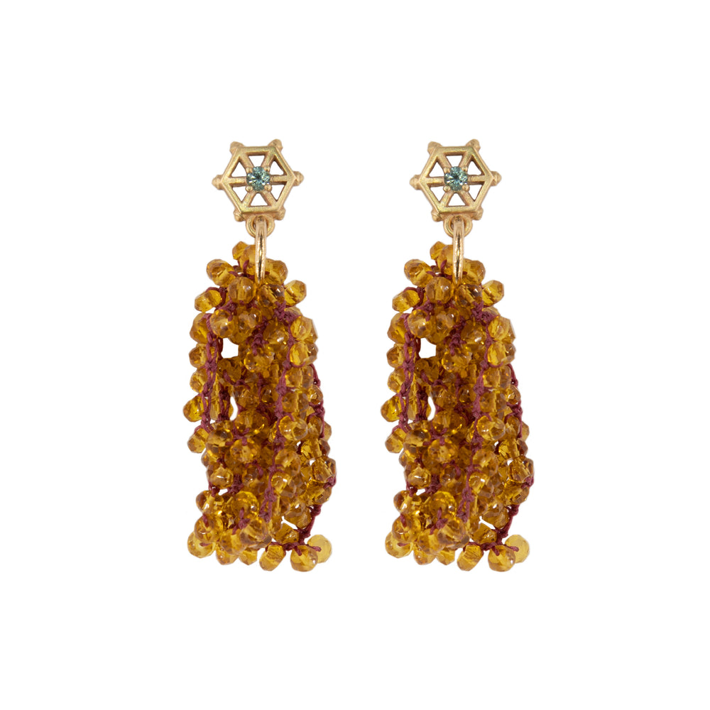 Load image into Gallery viewer, small-gold-beaded-gemstone-earrings-citrine