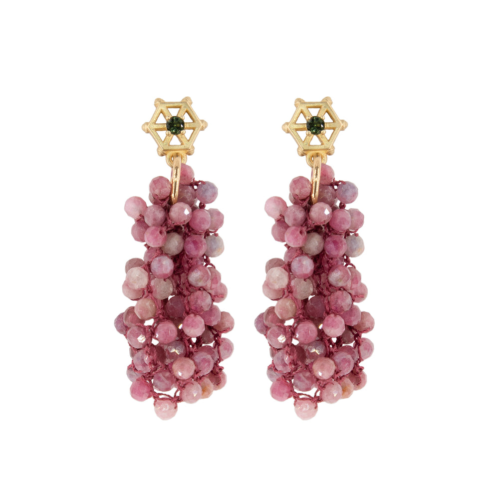 small-gold-beaded-gemstone-earrings-pink-tourmaline
